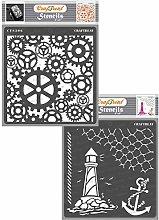 CrafTreat Steampunk Stencils for Crafts Reusable