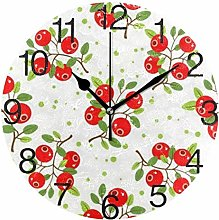 Cranberry with Leaves Round Wall Clock, Silent
