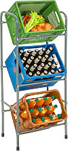 Crate rack for 3 beverage crates - grey