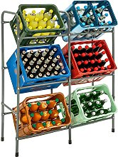 Crate rack for 6 beverage crates - grey