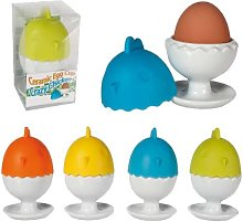 Crazy Chicken Ceramic Egg Cup with Silicone Lid in