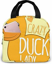 Crazy Duck Lady Insulated Lunch Bag, Big Capacity