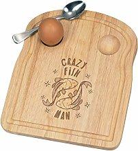 Crazy Fish Man Stars Breakfast Dippy Egg Cup Board
