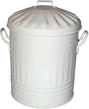 Cream 15 Litre Steel Galvanised Dustbin