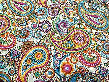 CREAM and PINK PAISLEY Cotton Fabric Floral Print