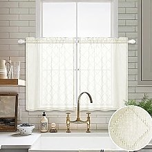 Cream Beige Sheer Tier Curtains 24 inch Length for