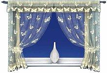 Cream Butterfly Pattern Window Curtain Net Set in