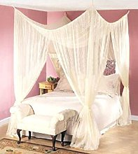 Cream Colour Four Corner Poster Bed Canopy