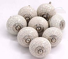 Cream Crackle Round Ceramic Door Knobs Vintage