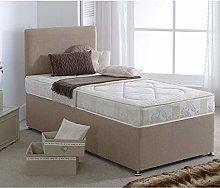 Cream Fabric Divan Bed Set, Happy Beds Star Divan