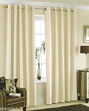 CREAM FAUX SILK LINED CURTAINS WITH EYELET RING
