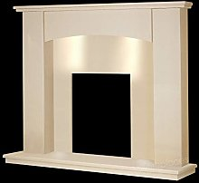 Cream Marble Stone Curved Modern Surround Gas Wall