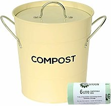 Cream Metal Kitchen Compost Caddy & 50x All-Green