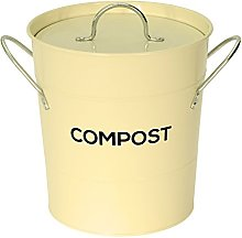 Cream Metal Kitchen Compost Caddy - Composting Bin