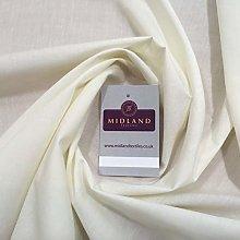 Cream Plain Polyester Cotton Fabric - Dress Craft