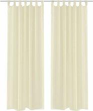 Cream Sheer Curtain 140 x 175 cm 2 pcs