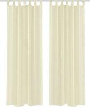 Cream Sheer Curtain 140 x 245 cm 2 pcs - Cream