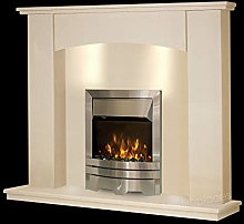 Cream Stone Marble Curved Modern Surround Electric