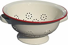 Cream Vintage Style Enamel Colander with red Rim