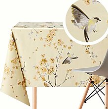 Cream Wipe Clean Tablecloth with Birds on Cherry