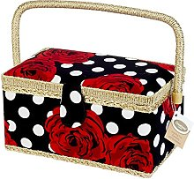 Creations Red Rose Standard Sewing Basket, Fabric,