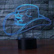 Creative 3D Cowboy Hat Night Light 7 Colors