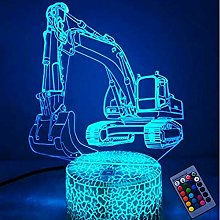Creative 3D Excavator Night Light 16 Colors