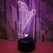 Creative 3D Harp Night Light 7 Colors Changing USB