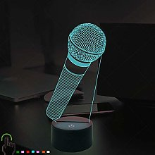 Creative 3D Microphone Night Light 7 Colors