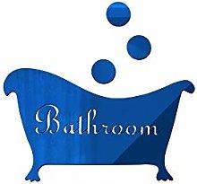 Creative DIY Mirror Sticker Bathroom Door Number Bathtub Decoration Sticker, Blue