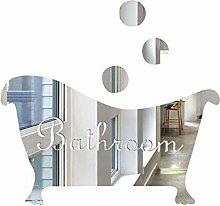Creative DIY Mirror Sticker Bathroom Door Number Bathtub Decoration Sticker, Silver