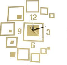 Creative Mirror Wall Clock Square Mirror Clock 3D