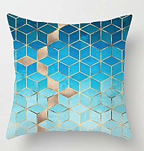 Creative Patterned Soft Cushion Covers (Blue Cubes)