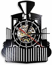 Creative retro steam locomotive black wall clock