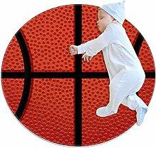 Creative Round Rug Basket Texture Orange Print Rug