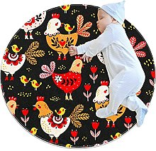 Creative Round Rug Colorful Rooster Chicken Print
