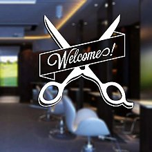 Creative Scissors Welcome Wall Sticker Barber Shop