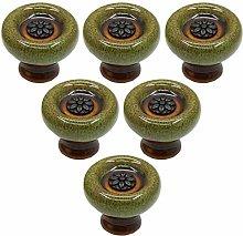 Creatwls 6 pcs Ceramic Round Knobs Kitchen Cabinet