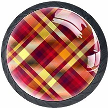Crimson Plaid Solid Kitchen Cabinet Knobs Round