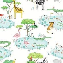 Crocodile Lake Children's Wallpaper White
