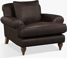 Croft Collection Findon Leather Armchair, Dark Leg