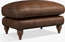 Croft Collection Findon Leather Footstool, Dark Leg