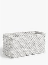 Croft Collection Rattan Storage Box, White, Medium