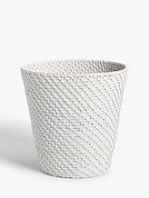 Croft Collection Rattan Waste Paper Bin, White