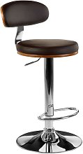 Crofton Bar Stool In Brown Faux Leather With