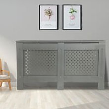 Cross Design Radiator Cover | MDF Cabinet | Grey
