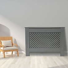Cross Design Radiator Cover | MDF Cabinet | Grey