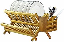 Cross Dish Drainer with Cutlery Basket, Bamboo