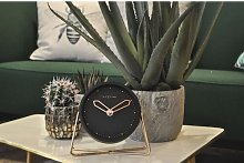 Cross Round Copper Tabletop Clock NeXtime