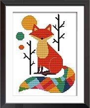 Cross Stitch Kits, Seven Color Fox Animals Easy
